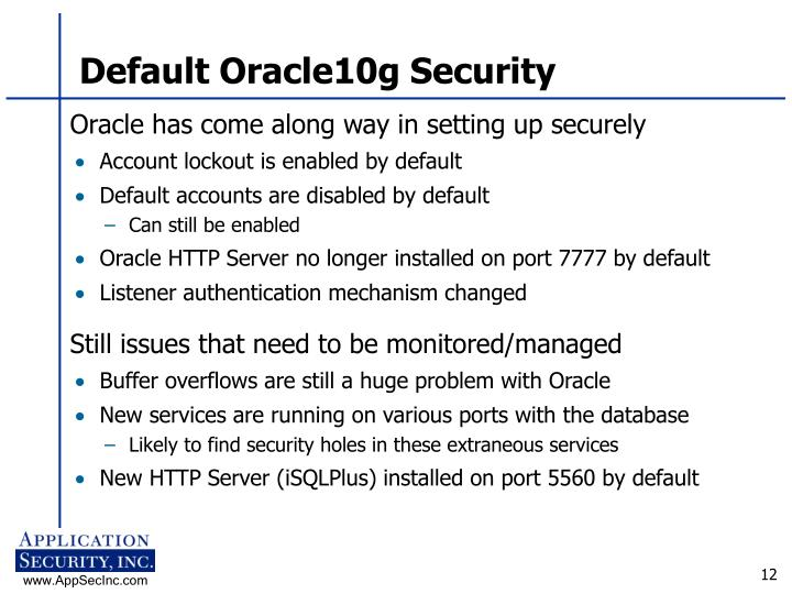Default Oracle10g Security