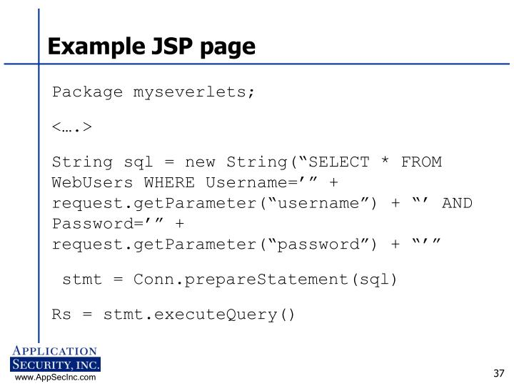 Example JSP page