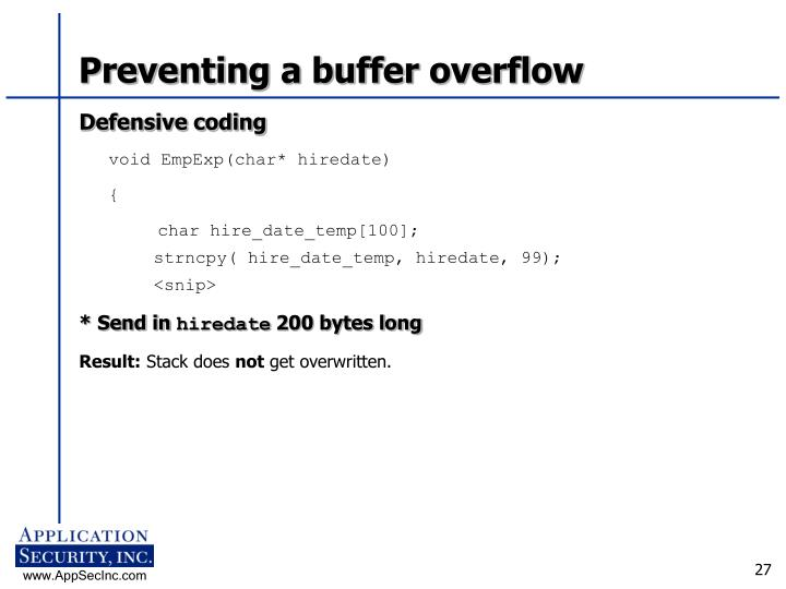 Preventing a buffer overflow