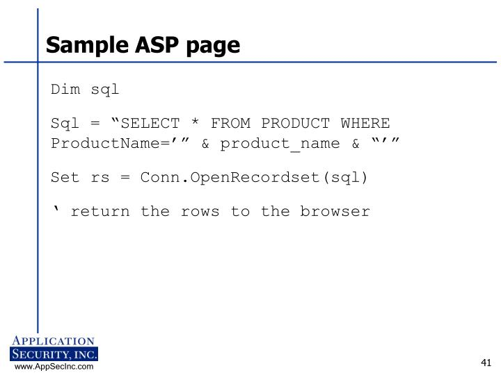 Sample ASP page