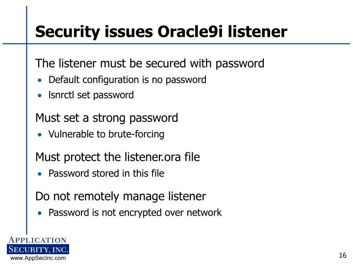 Security issues Oracle9i listener