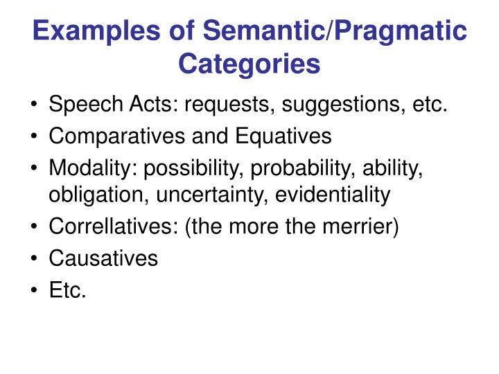 Examples of Semantic/Pragmatic Categories