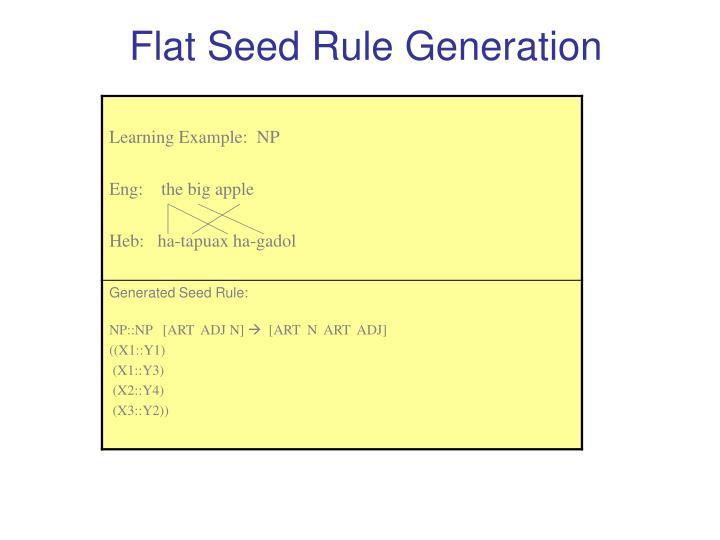 Flat Seed Rule Generation