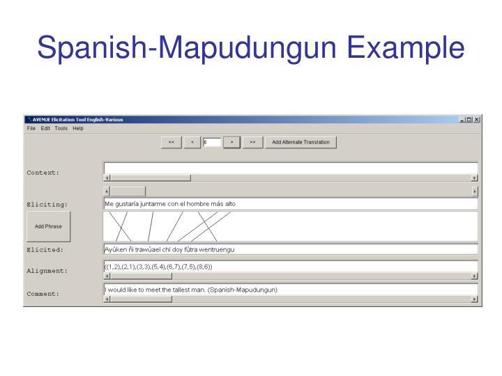 Spanish-Mapudungun Example