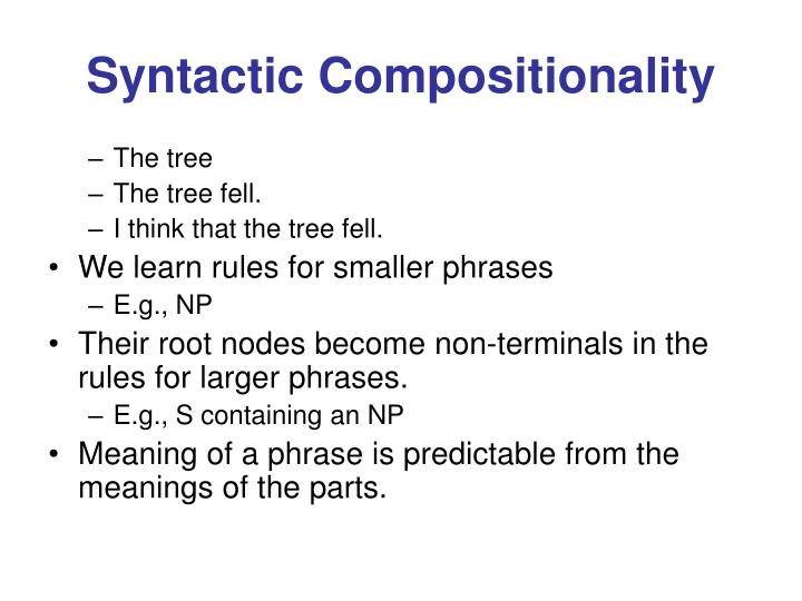 Syntactic Compositionality
