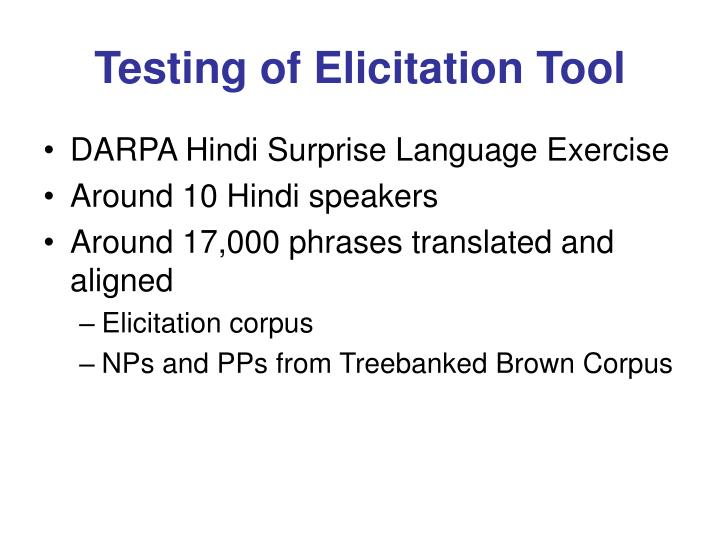 Testing of Elicitation Tool