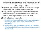 information service and promotion of security contd