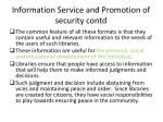 information service and promotion of security contd1