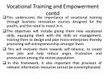 vocational training and e mpowerment contd