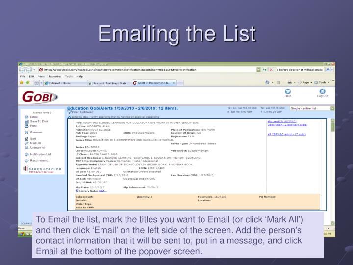 Emailing the List