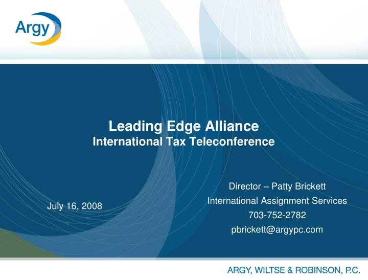 leading edge alliance international tax teleconference n.