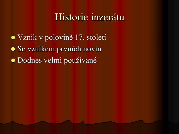 Historie inzer tu