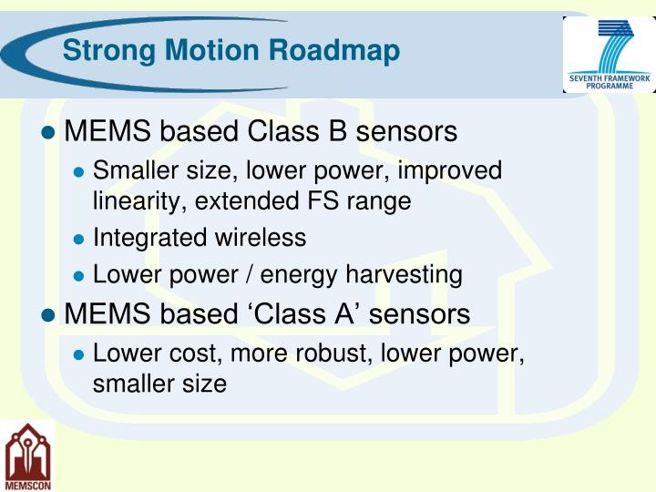 Strong Motion Roadmap