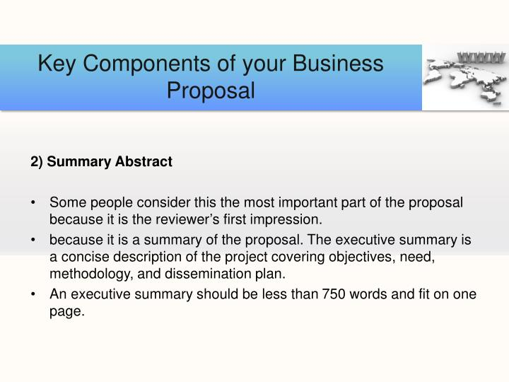 Key Components of your Business Proposal