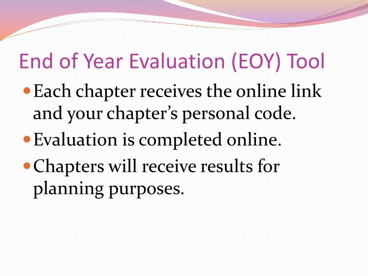 End of Year Evaluation (EOY) Tool