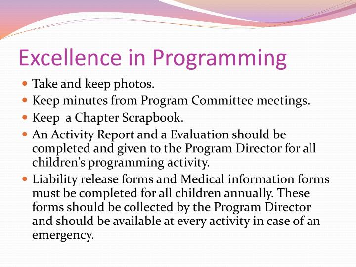 Excellence in Programming