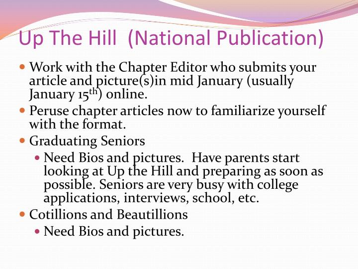 Up The Hill  (National Publication)