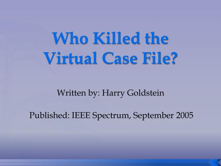 analysis of fbis virtual case file