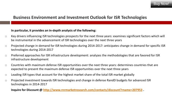 Business Environment and Investment Outlook for ISR Technologies