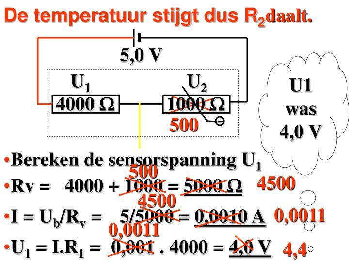 De temperatuur stijgt dus R