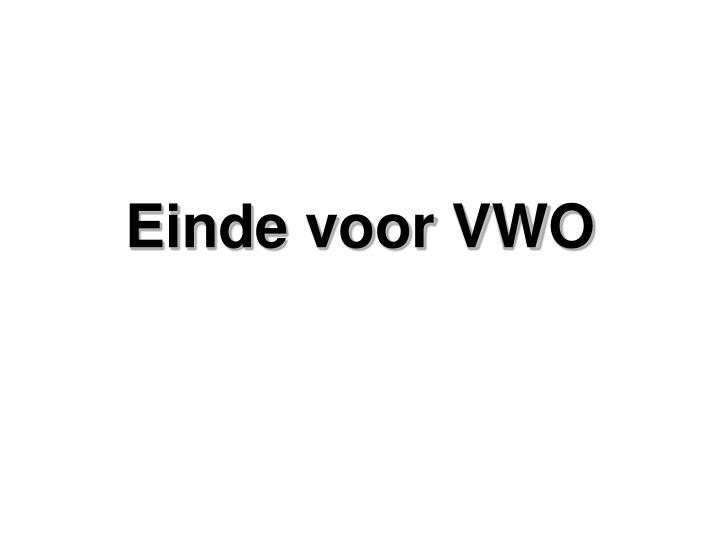 Einde voor VWO