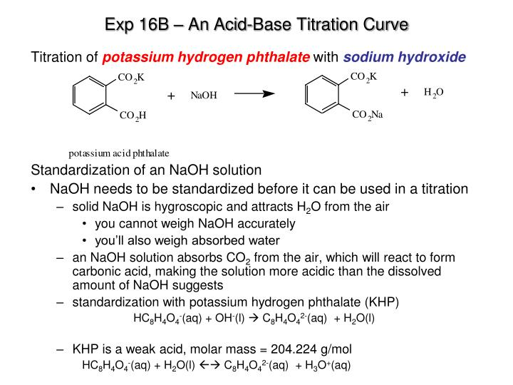 standardization of acid base 85 acid-base titration experiment 7 lecture and lab skills emphasized • understanding the concept of titration • explaining the difference between analyte and standard solutions.