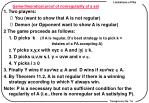 game theoretical proof of nonregularity of a set