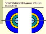 open detector for access or before installation