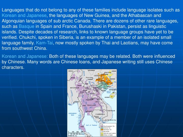 Languages that do not belong to any of these families include language isolates such as