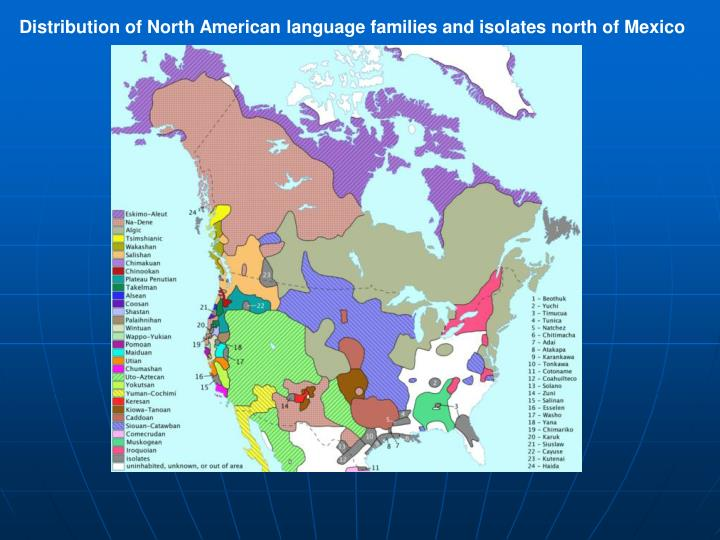 Distribution of North American language families and isolates north of Mexico