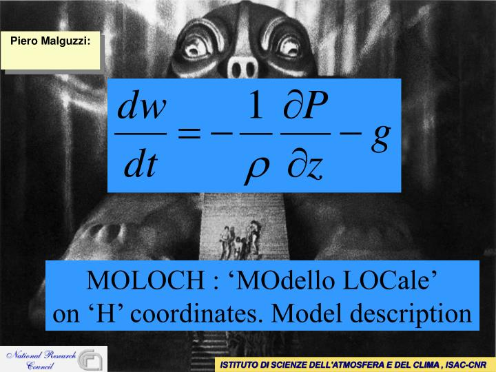 moloch modello locale on h coordinates model description n.