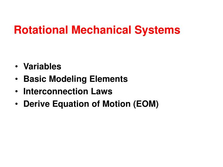 Rotational mechanical systems
