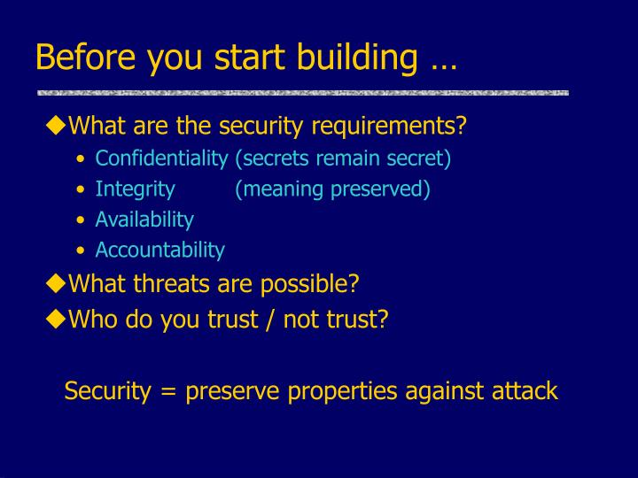 Before you start building …