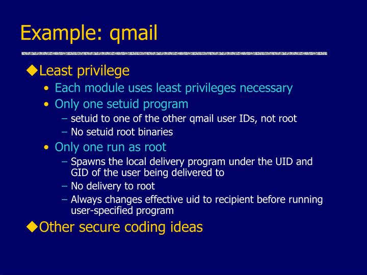 Example: qmail