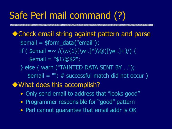 Safe Perl mail command (?)