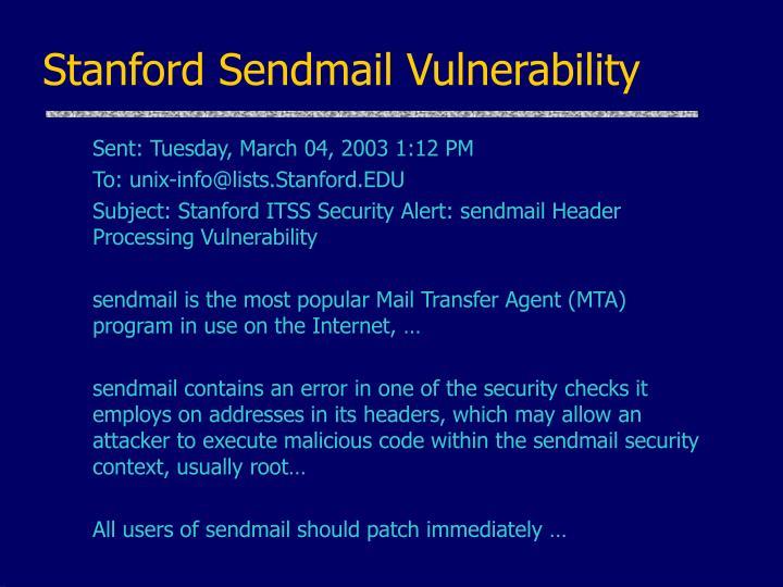 Stanford Sendmail Vulnerability