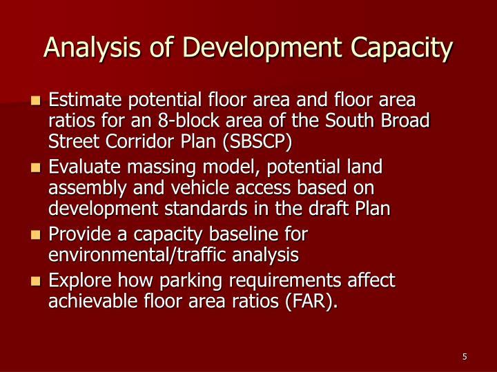 Analysis of Development Capacity
