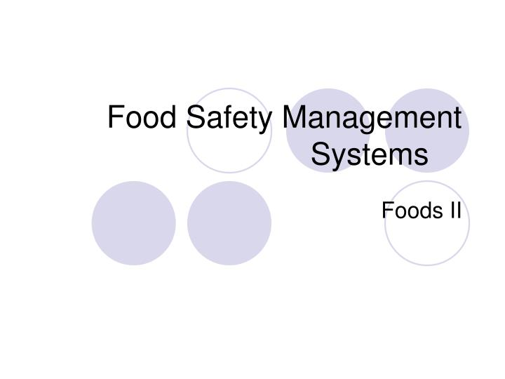food safety management systems n.