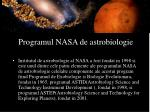 programul nasa de astrobiologie