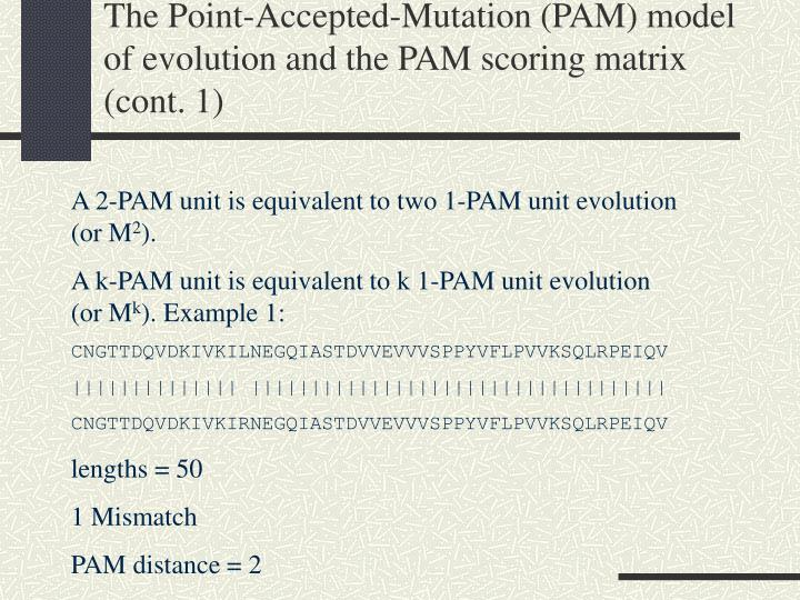 The Point-Accepted-Mutation (PAM) model of evolution and the PAM scoring matrix (cont. 1)
