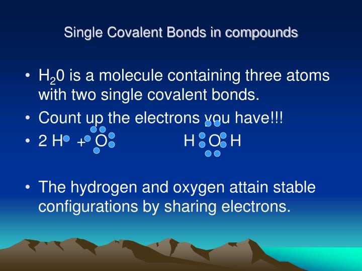 Single Covalent Bonds in compounds