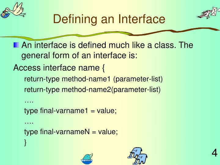 Defining an Interface