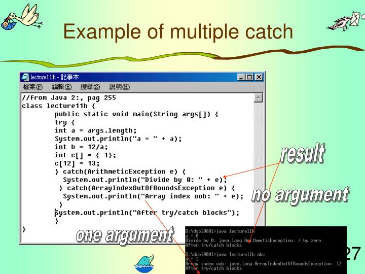 Example of multiple catch