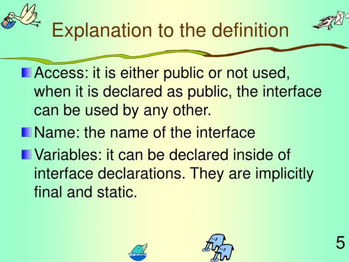 Explanation to the definition