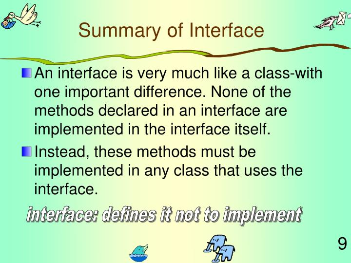 Summary of Interface