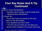 four key rules and a tip continued2