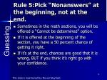 rule 5 pick nonanswers at the beginning not at the end