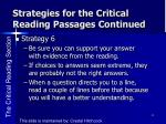 strategies for the critical reading passages continued1