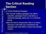 the critical reading section1