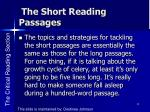 the short reading passages1